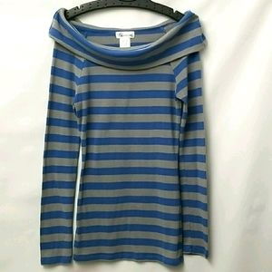 Bluecrush Womens Size Large Blue And Grey Top